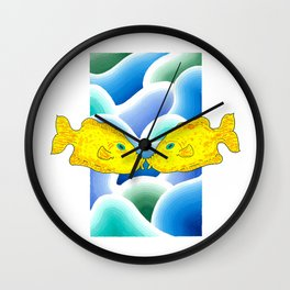 Kissing Yellow Fish Wall Clock