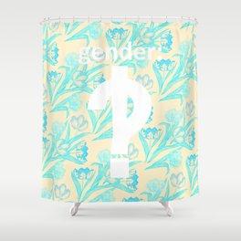 Gender: interrobang!? blue and yellow Shower Curtain