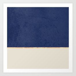 Navy Blue Gold Greige Nude Art Print