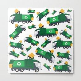 Garbage Truck Toys Truck Pattern Metal Print