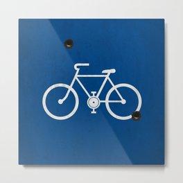 Blue bike sign shooting Metal Print