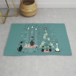 Vintage Cat Family Holiday Rug