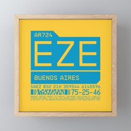 Baggage Tag C - EZE Buenos Aires Ezeiza Argentina Framed Mini Art Print