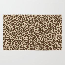 Giraffe Skin Pattern Design Cracked Brown and Tan Texture Rug