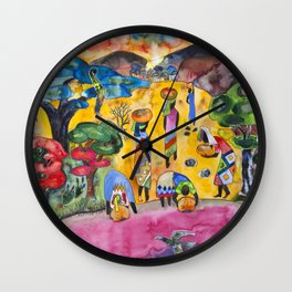 African ladies fetching water (Often I dream about Africa, part 1) Wall Clock