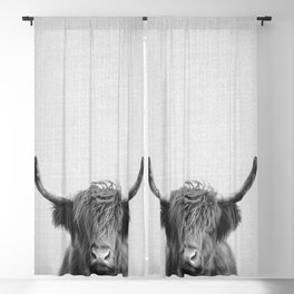 Highland Cow - Black & White Blackout Curtain