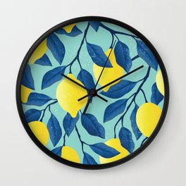 Yellow lemon on the branches with leaves and blue sky. Vintage hand drawn illustration pattern Wall Clock
