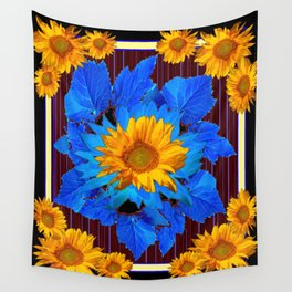Decorative Sunflower Patterns Blue Leaves Wall Tapestry