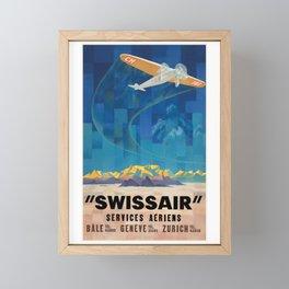 1925 Swissair Air Services Airline Poster Framed Mini Art Print
