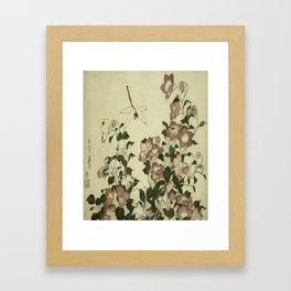 Hokusai – campanula and odonata -insect,flower, nature,garden Framed Art Print