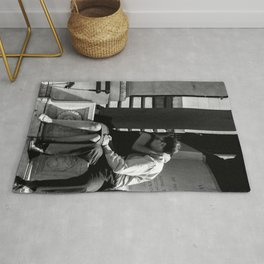 Woman Grieving in a Man Chest Rug