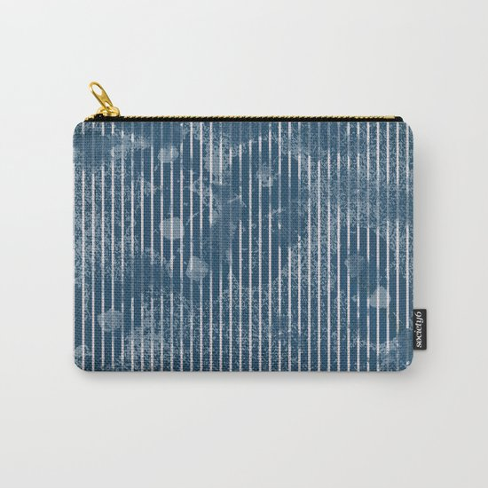 White stripes on grunge textured blue background Carry-All Pouch