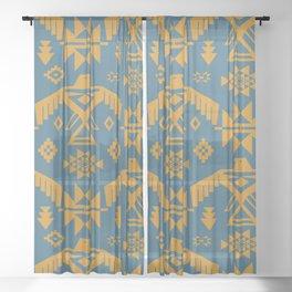 Southwestern Thunderbird Kilim in Teal + Ochre Sheer Curtain