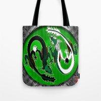 ying yang Tote Bags featuring ying yang by Nerd Artist DM