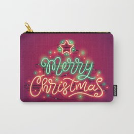 Merry Christmas Colorful Neon Sign Carry-All Pouch