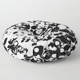 Black white gray ink paint spilled mess splashes platter effect Floor Pillow