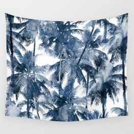 Blue palm trees Wall Tapestry