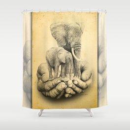 Refuge Elephants Drawing Shower Curtain