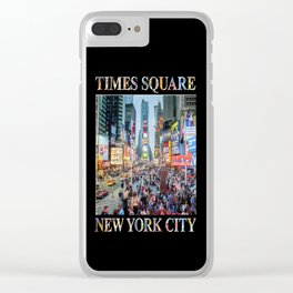 Times Square Tourists (on black) Clear iPhone Case