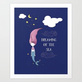 Dreaming of the Sea Mermaid - Undersea Cute Mermaid Art Print