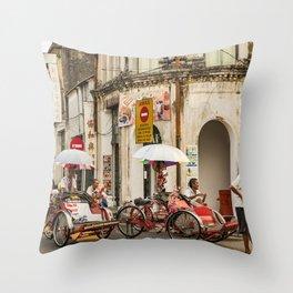 Trishaw Break II - George Town, Penang  Throw Pillow