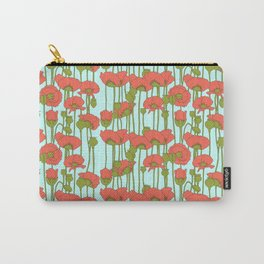 poppies in coral on turquoise Carry-All Pouch
