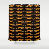 tigers Shower Curtains featuring Leaping Tigers by John A. Conroy (COOOL CATS)