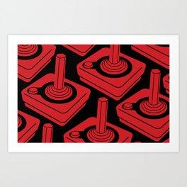 Atari 2600 Joystick Pattern in Red and Black Art Print