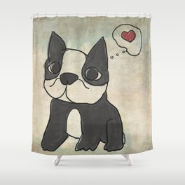 Hand Drawn and Quirky Boston Terrier San Jones Illustration Shower Curtain