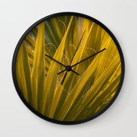 palm Wall Clocks featuring Palm by Moonworkshop