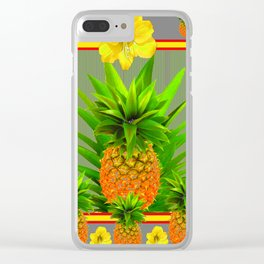 HAWAIIAN FLORAL GREY COLOR PINEAPPLE ART Clear iPhone Case