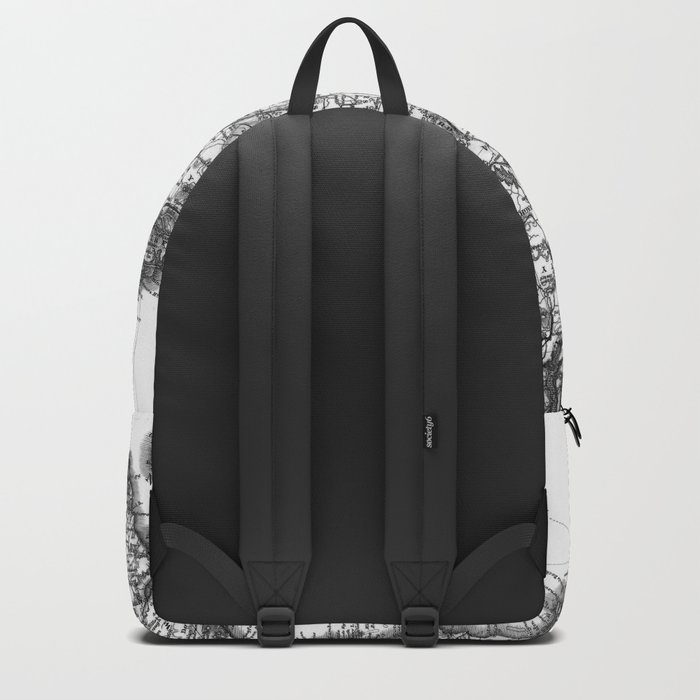 Vintage Black and White Ireland MAp Backpack