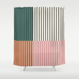 Color Block Line Abstract V Shower Curtain