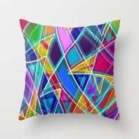 stained glass Throw Pillows featuring Stained Glass by gretzky