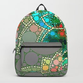 Bubble Green Abstract Flower Design Backpack