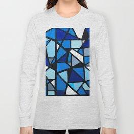 Blue Geometric Long Sleeve T-shirt