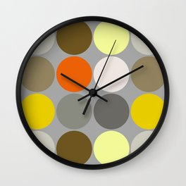 Mid-Century Giant Dots, Gray, Gold and Orange Wall Clock