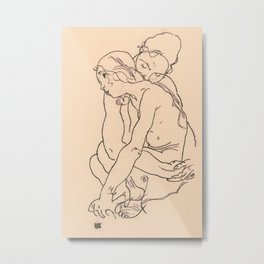 Egon Schiele - Two women embracing Metal Print