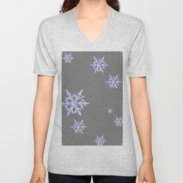 DECORATIVE GREY WINTER WHITE SNOWFLAKES Unisex V-Neck