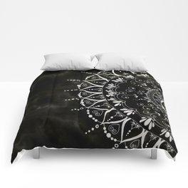 Black Floral Mandala Marble Pattern Comforters