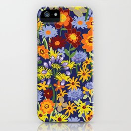 Bright and Cheerful Summer Meadow Floral Design on Dark Blue Background iPhone Case