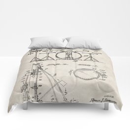 Drum Set Patent - Drummer Art - Antique Comforters