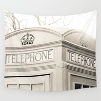 telephone Wall Tapestries featuring London telephone booth by AlejandraClick