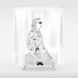 girl with record plastic bag Shower Curtain