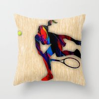 tennis Throw Pillows featuring Tennis by marvinblaine
