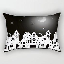 Fabulous houses, trees against the night sky. Rectangular Pillow