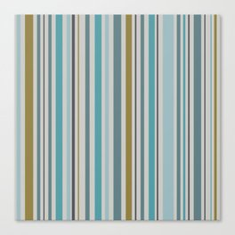 Aqua And Olive Striped Canvas Print