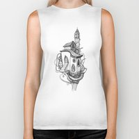 castle in the sky Biker Tanks featuring Castle in the sky by Mary Koliva