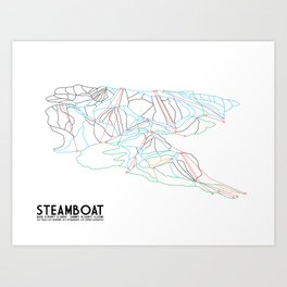 Steamboat, CO - Minimalist Trail Maps Art Print