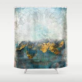 Lapis - Contemporary Abstract Textured Floral Shower Curtain